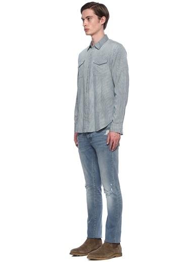 John Varvatos Star USA Çizgili Uzun Kollu Gömlek Mavi